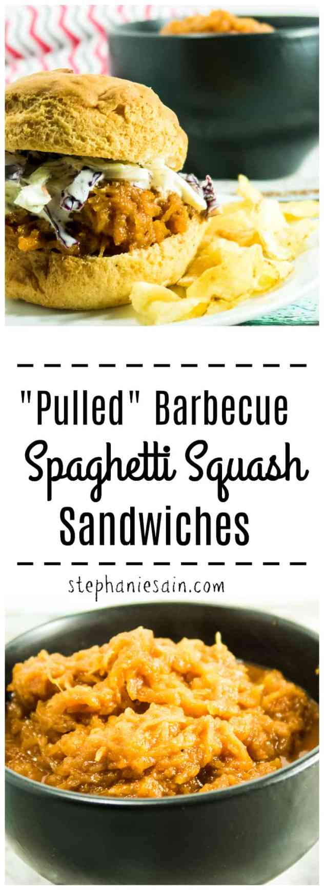 """""""Pulled"""" Barbecue Spaghetti Squash Sandwiches are a great vegetarian, vegan option for barbecue. Made with homemade BBQ sauce and topped with crunchy coleslaw. The perfect addition for a cookout or anytime. Gluten Free, Vegetarian, Vegan option."""