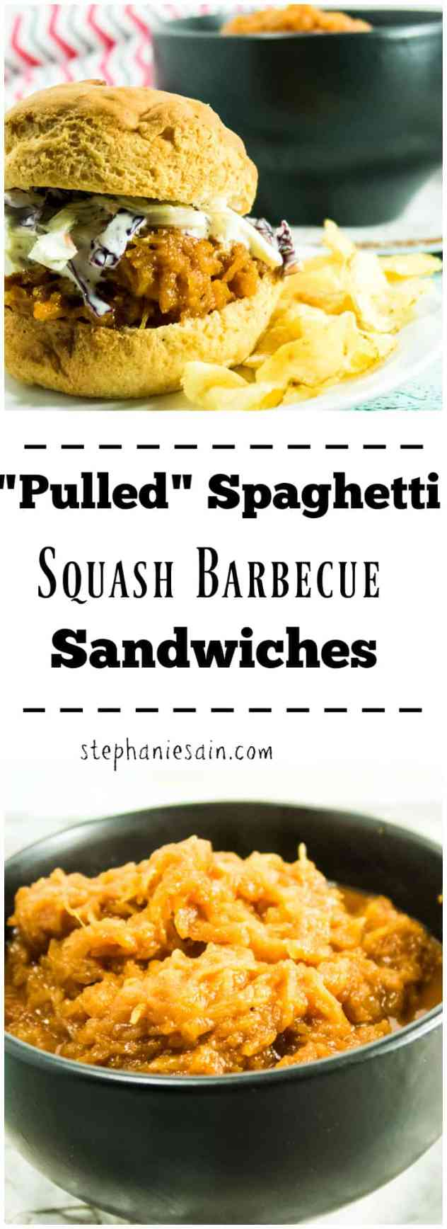 """""""Pulled"""" Spaghetti Squash Barbecue Sandwiches are a tasty, vegetarian or vegan option for your next cookout. Slow cooked with homemade BBQ sauce and served with your favorite toppings. Gluten free, Vegetarian, and Vegan option."""