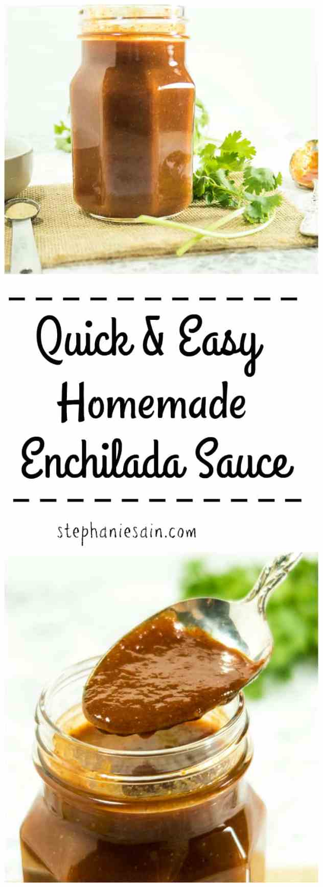 Quick & Easy Homemade Enchilada Sauce is so easy to prepare and tastes so much better than the store bought stuff. Great with all your favorite Mexican recipes. Gluten free & Vegetarian.