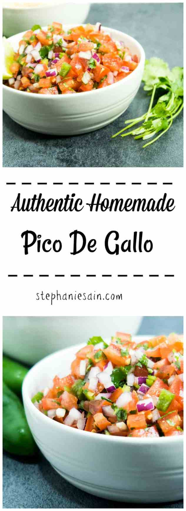 Authentic Homemade Pico De Gallo is an easy six ingredient recipe that is great served as an appetizer with chips or topped on so many other things. Vegan & Gluten free.