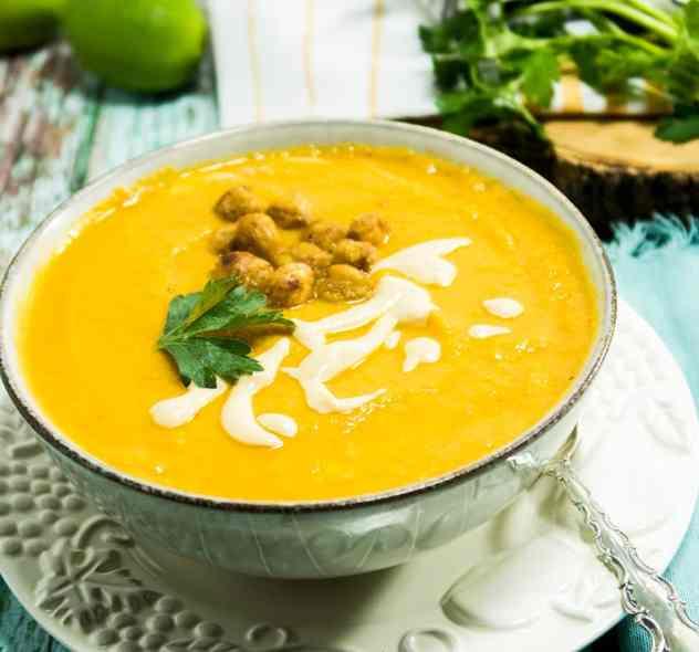 Smooth Creamy Sweet Potato Tahini Soup