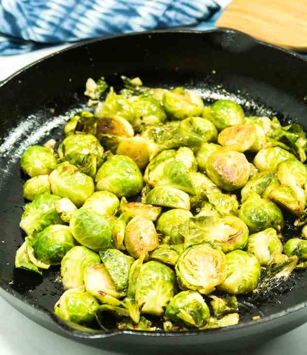 Easy Pan Seared Balsamic Brussels Sprouts