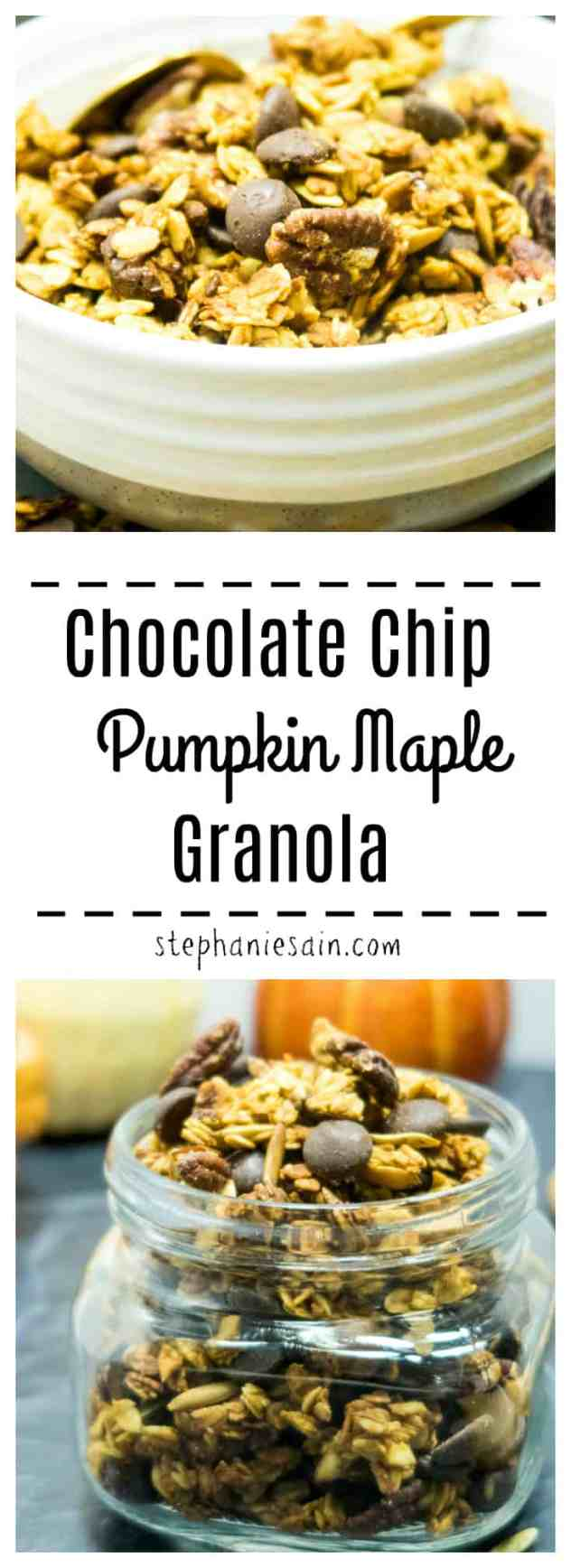 Chocolate Chip Pumpkin Maple Granola is an easy recipe bursting with Fall flavors of pumpkin, maple & pecans. Perfect for breakfast or a grab & go snacking. Vegan & Gluten Free.
