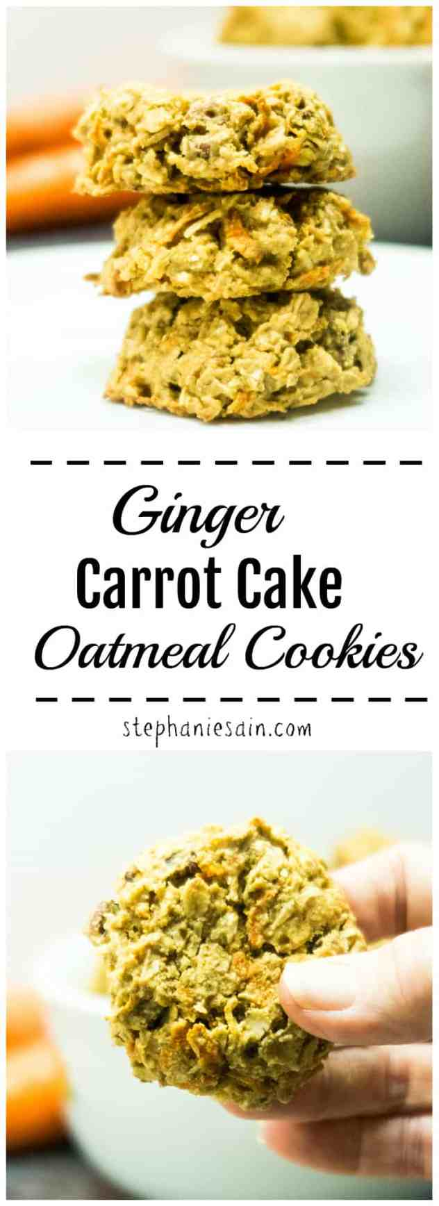 Ginger Carrot Cake Oatmeal Cookies are tasty little cookies with the flavors of carrot cake. Great for a healthy breakfast or quick snack. No Added refined sugars, Gluten Free, & Vegan option.