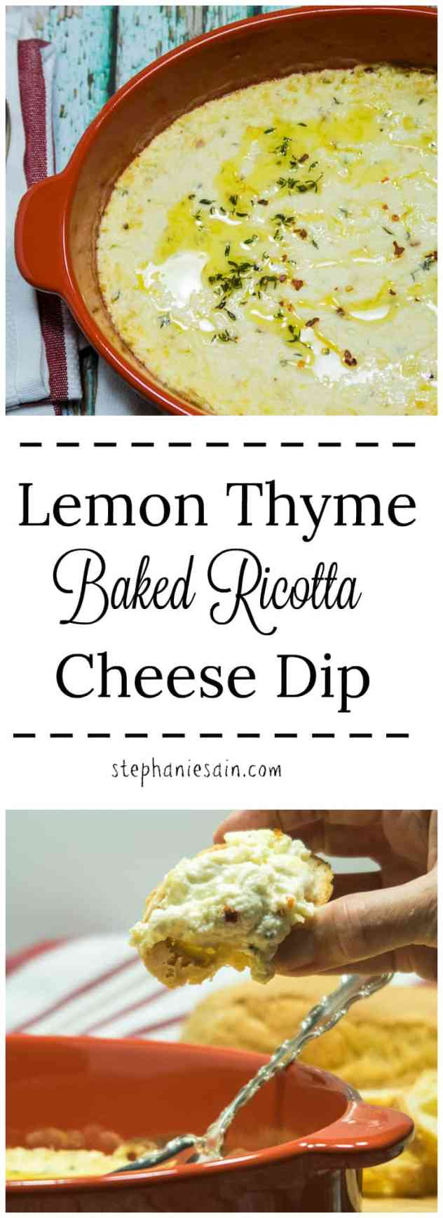 Lemon Thyme Baked Ricotta Cheese Dip is a quick & easy dip that is perfect for entertaining, holidays & date night. Made with easy to find ingredients and great served with crackers, gf bread, & veggies. Gluten free & Vegetarian.