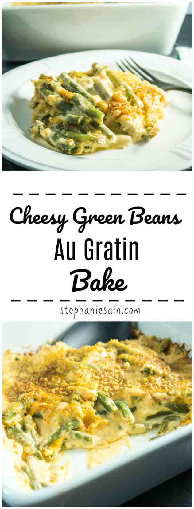 Cheesy Green Beans Au Gratin Bake is a rich, creamy delicious side for your holiday table or any time. Green beans covered in a creamy, cheesy sauce and topped with a crunchy lightly browned topping. Gluten Free & Vegetarian.