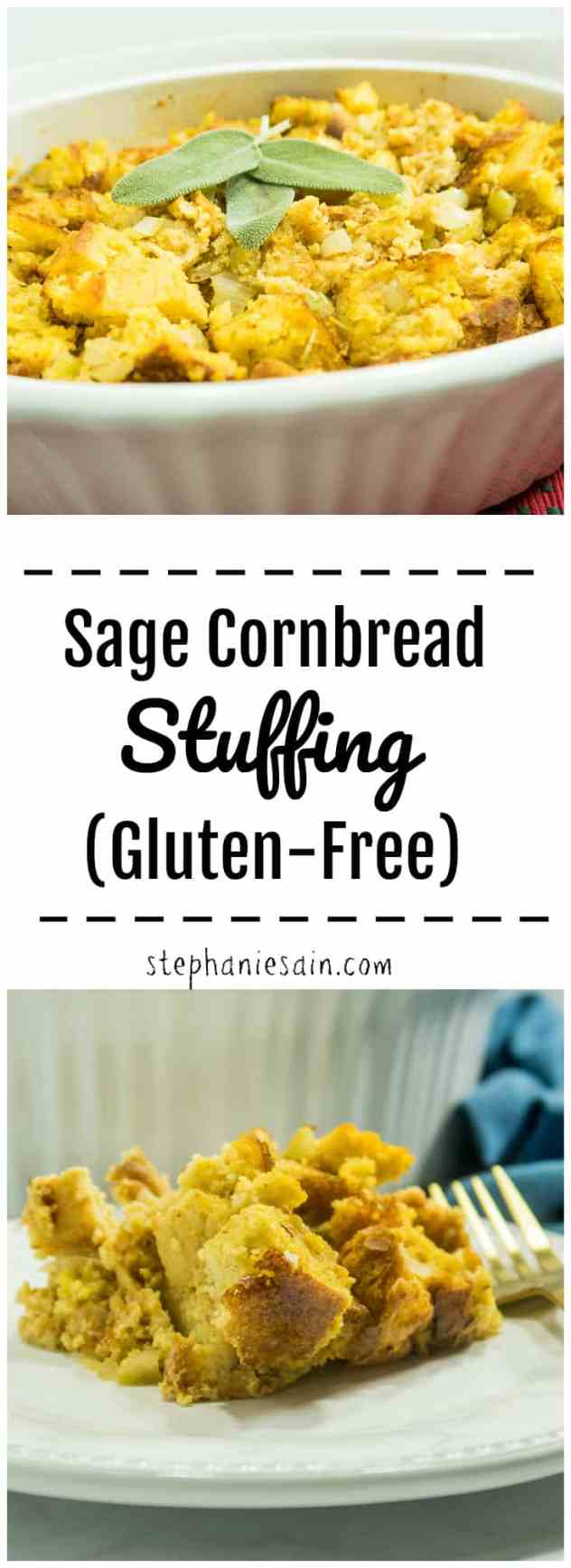 Sage Cornbread Stuffing is a simple classic stuffing flavored with sage, onions, garlic & celery. Perfectly seasoned & moist for a gluten free stuffing the whole family will love. Vegetarian & Gluten Free.