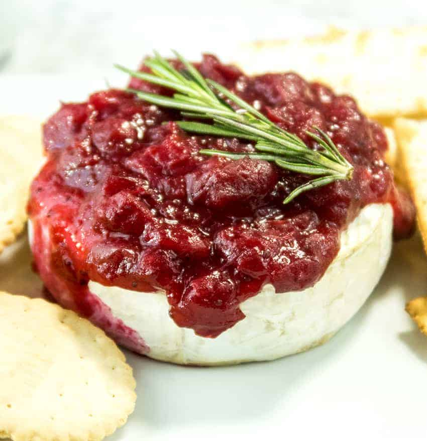 Cranberry Sauce Topped Baked Brie