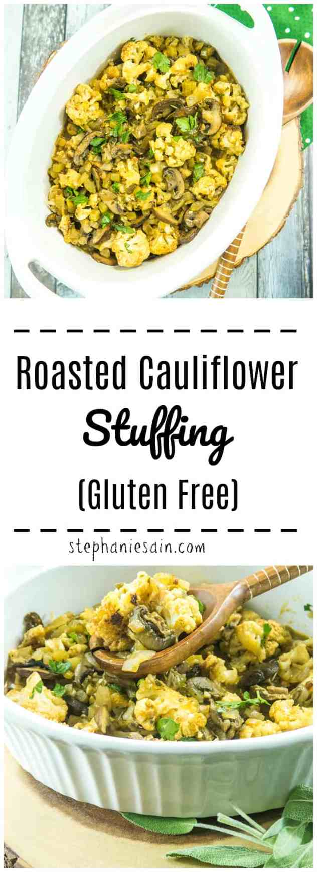 Roasted Cauliflower Stuffing is a low carb, gluten free alternative to traditional bread stuffing. Made with all the same traditional flavors, along with roasted cauliflower. Great as a holiday side or anytime. Vegan option .