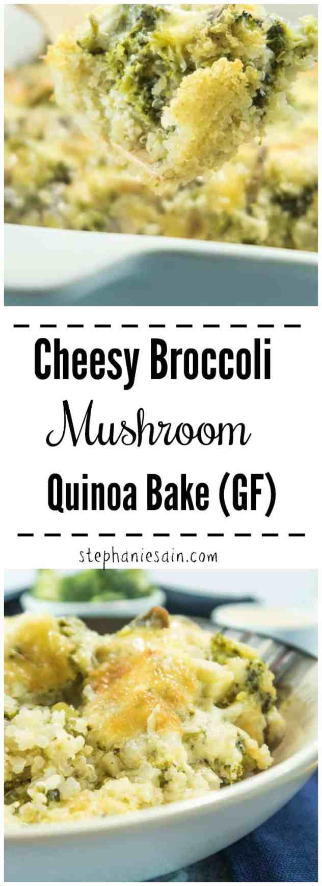 This Cheesy Broccoli Mushroom Quinoa Bake is chocked full of broccoli, mushrooms, cheese & quinoa. For a classic bowl of yummy comfort food with a health-ish twist. Gluten Free & Vegetarian.
