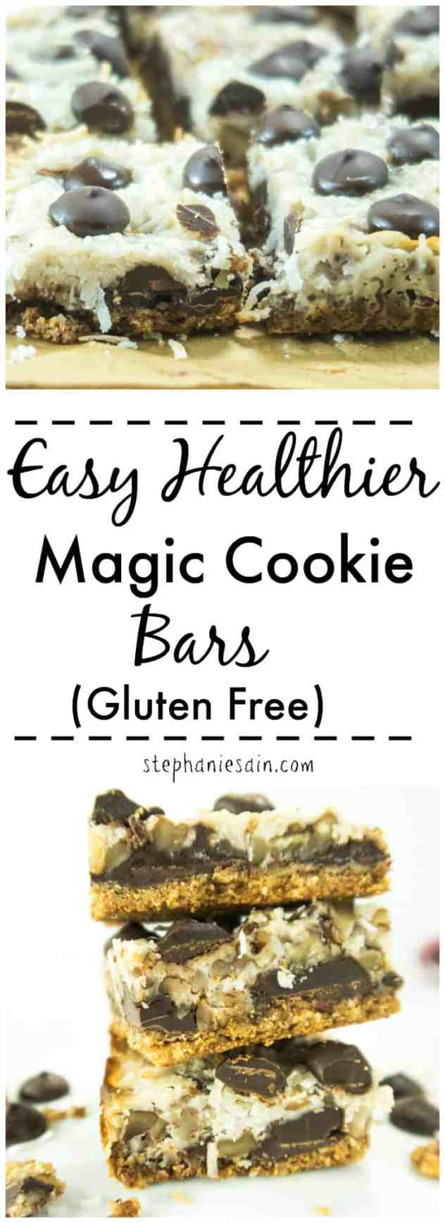 Easy Healthier Magic Cookie Bars are a healthier, lightened up version of an age old favorite. Made without added refined sugars, Vegan & Paleo friendly.