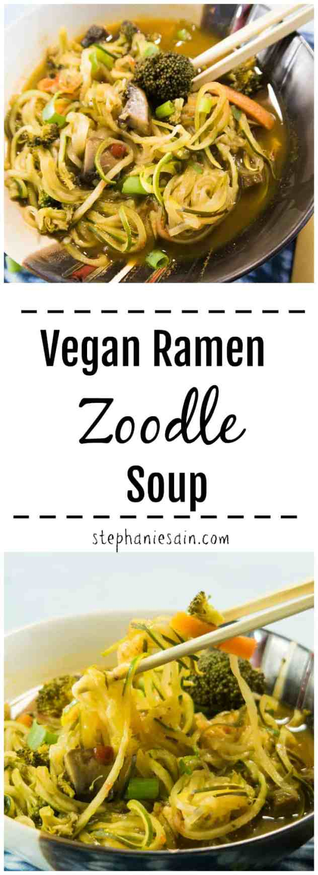 This Vegan Ramen Zoodle Soup is loaded with fresh veggies and zucchini noodles. A healthier version of ramen takeout noodles. Gluten Free.