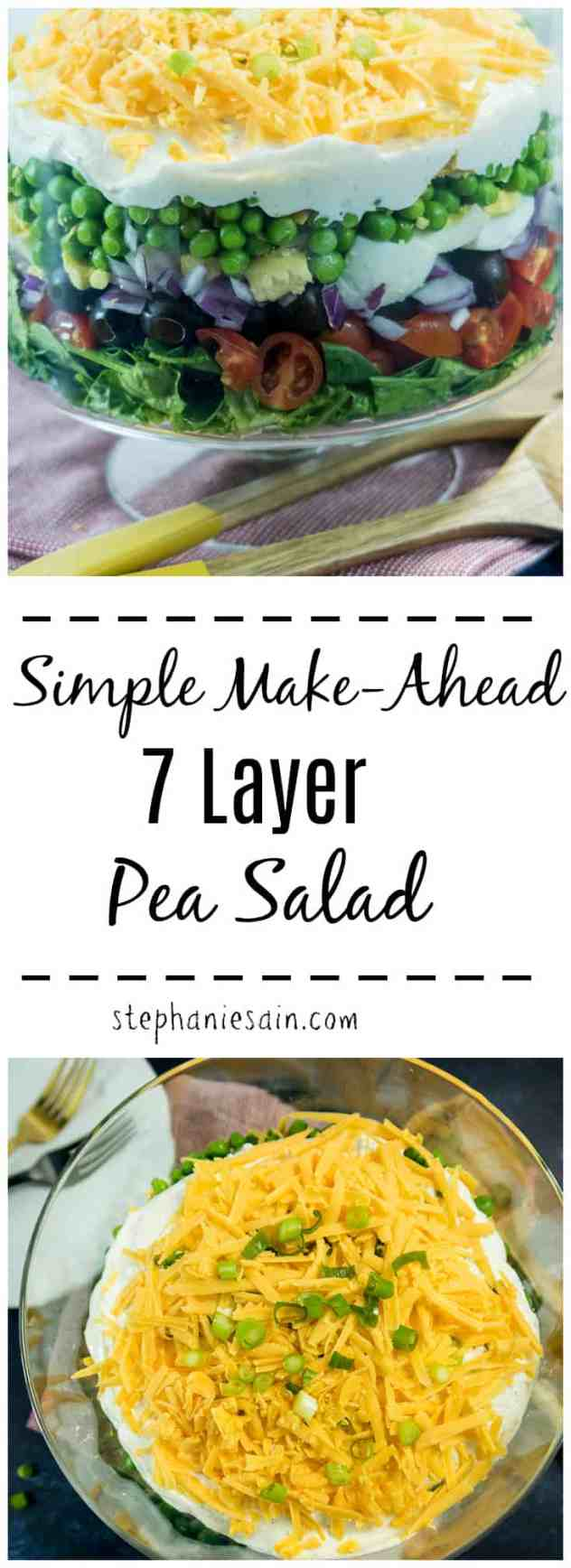 This Simple Make Ahead 7 Layer Pea Salad is perfect for parties, potlucks or family gatherings. Loaded with fresh veggies, eggs, cheese and a creamy mayo dressing. Gluten Free & Vegetarian.