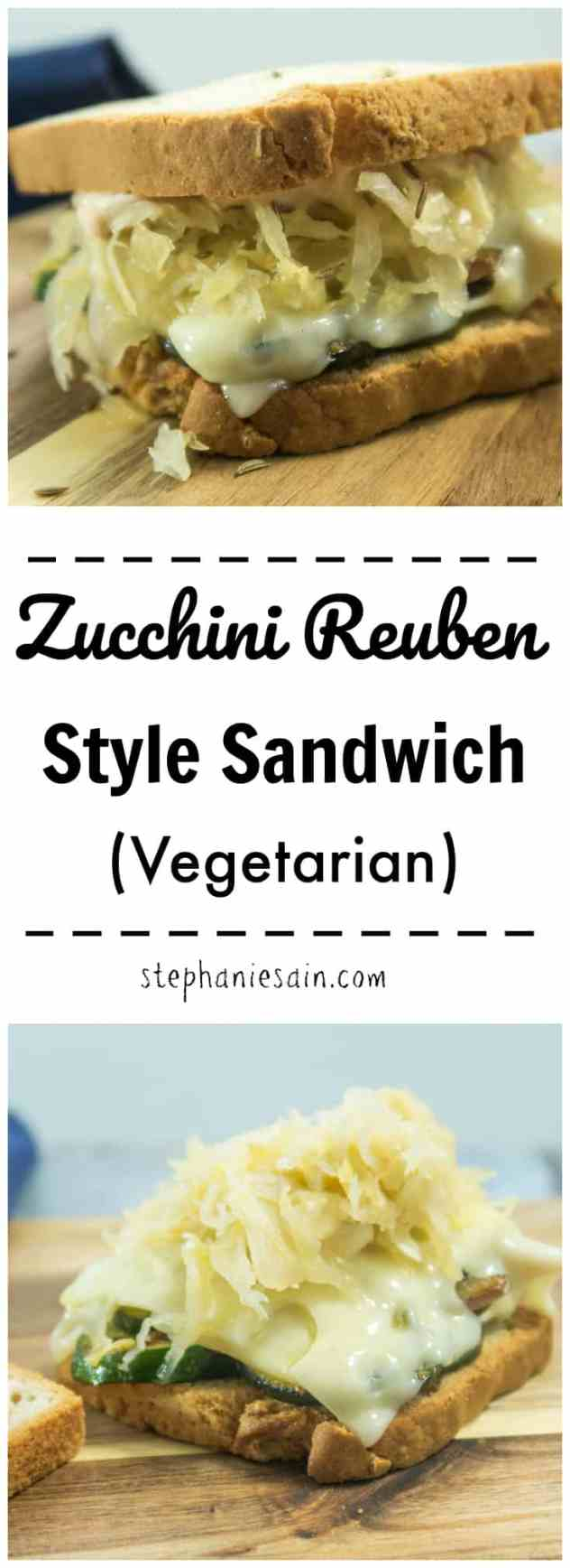 This Zucchini Reuben Style Sandwich is piled high with zucchini, red onion, Swiss cheese, & sauerkraut. Then layered between two slices of rye bread and a homemade thousand island dressing. Vegetarian & Gluten Free.