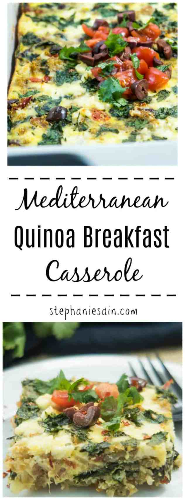 This Mediterranean Quinoa Breakfast Casserole is great for a special occasion brunch or even for an nice weekend breakfast. Loaded with tons of fresh veggies, olives, & feta cheese. Can be made ahead and reheated as needed. Gluten Free & Vegetarian.