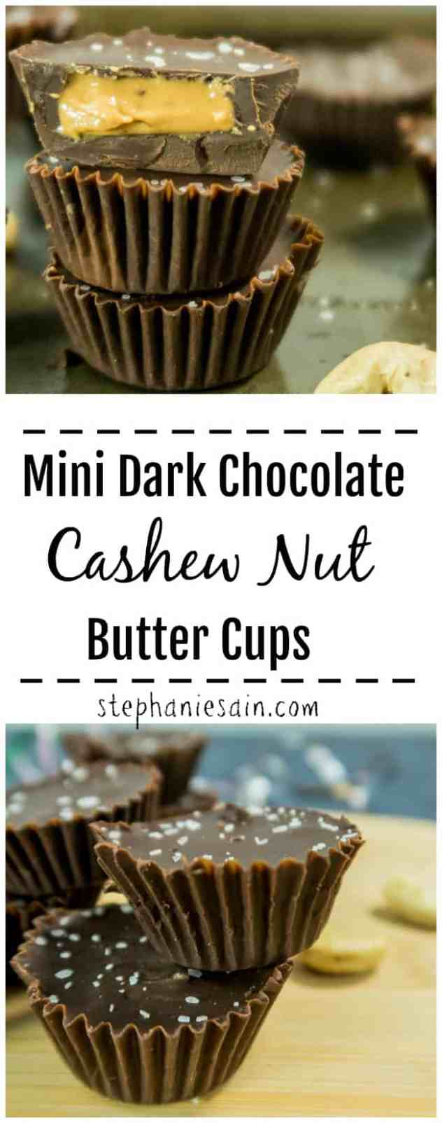 These Mini Dark Chocolate Cashew Nut Butter Cups are the perfect little tasty, healthy guilt-free treat or snack. They come together super quickly with only 4 ingredients. Paleo friendly & Gluten Free.