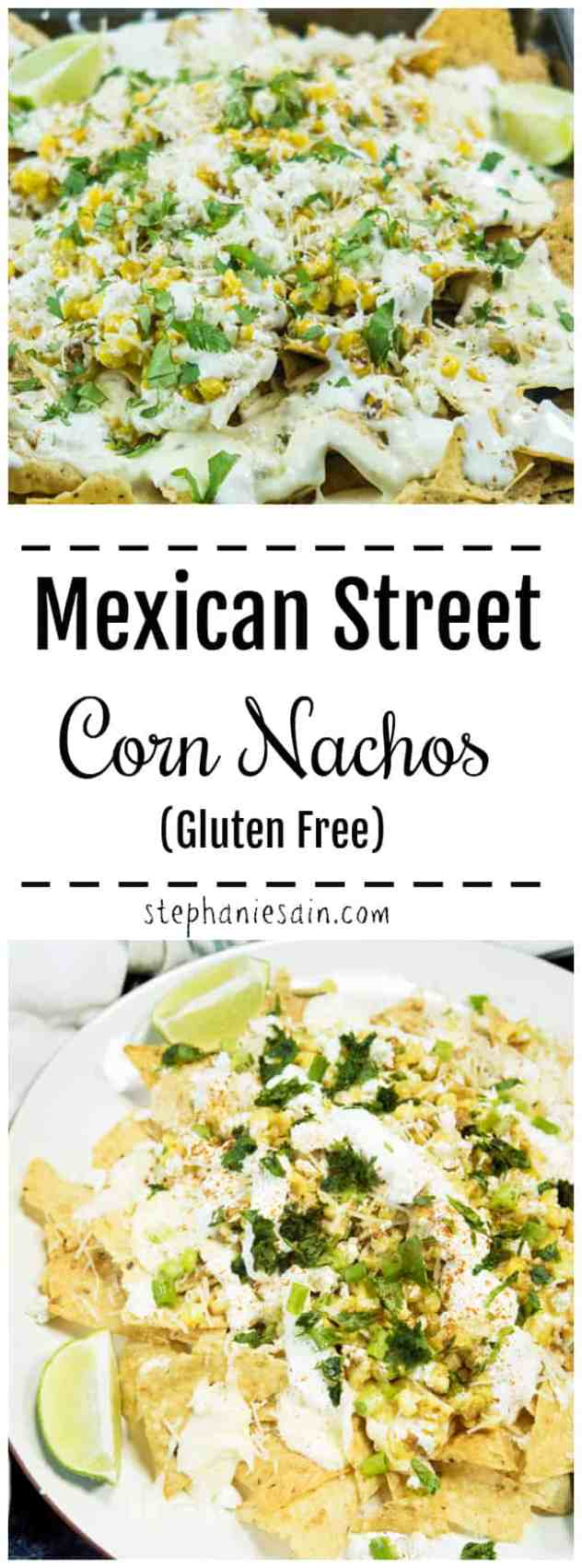 These Mexican Street Corn Nachos are perfect for game day, a party appetizer, or even dinner. Roasted corn topped on crunchy nachos and layered with creamy cheese sauce, cilantro, onions & sour cream. Gluten Free.