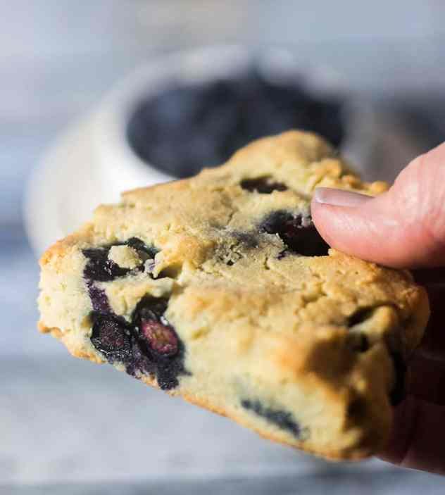 Holding a blueberry scone in hand