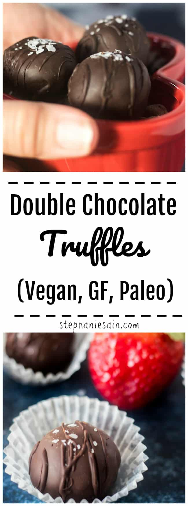 These Double Chocolate Truffles are so easy to make and made with healthy ingredients. Great for a healthy dessert, sweet snack or for your Valentine. Vegan, GF, DF, Paleo and No added refined sugar.