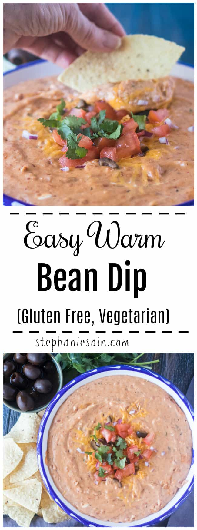 This Bean Dip is creamy, easy and delicious. Perfect for game day snacking, parties or gatherings. Made with only a few easy to find ingredients. Gluten Free, Vegetarian.