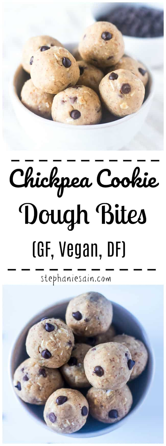 These No Bake Chickpea Cookie Dough Bites are easy to make and perfect when craving a healthy treat. Portable little snacks great for snacking, breakfast or anytime you want a sweet treat. Gluten Free, Vegan, DF, No Added Refined Sugar.