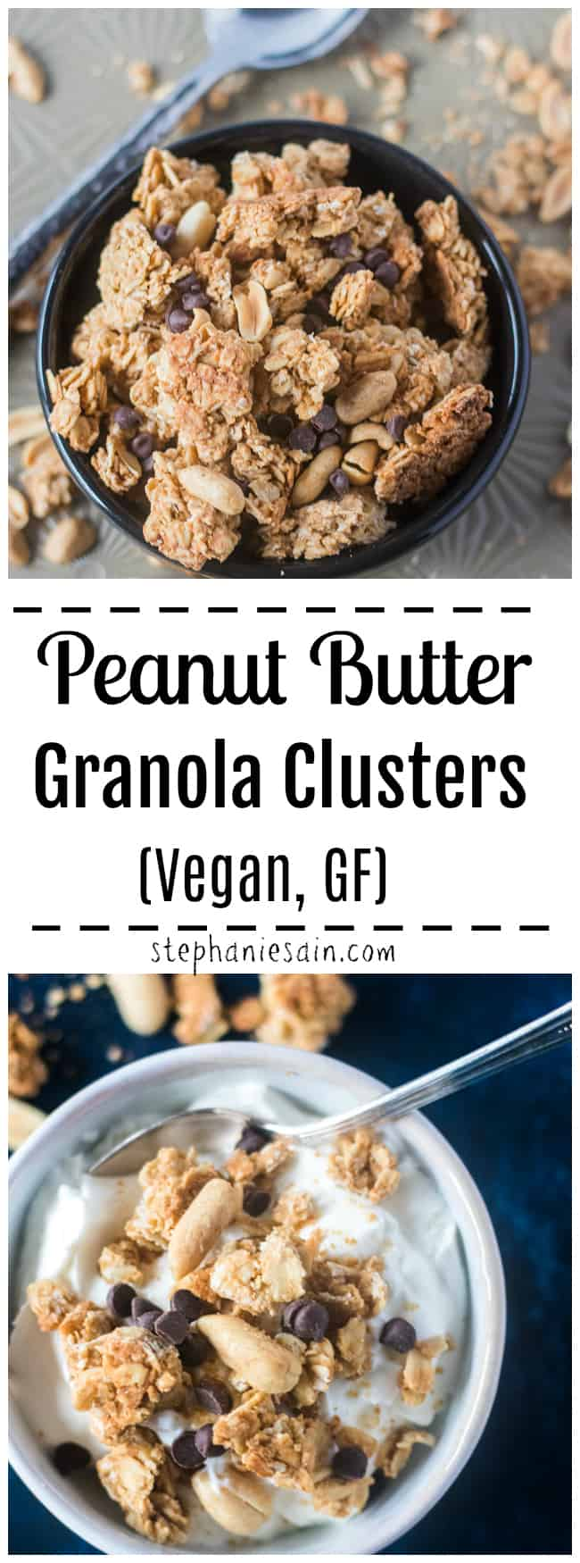 These Peanut Butter Granola Clusters require only five easy to find ingredients. Perfect for an easy, tasty grab and go breakfast or snack. Great also topped on yogurt or served with fresh fruit. Healthy and full of lots of stay with you nutrients. No refined sugar, Gluten Free, & Vegan.