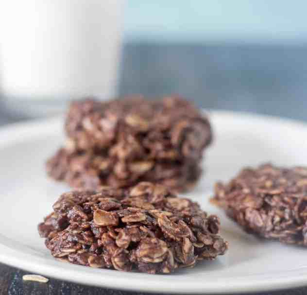 Chocolate Oatmeal No Bake Cookies on a white plate.