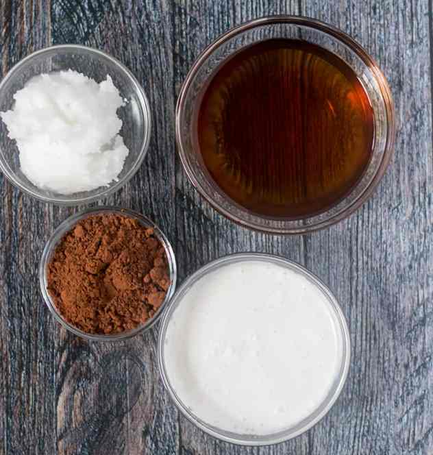 Coconut oil, coconut milk, cocoa powder, maple syrup