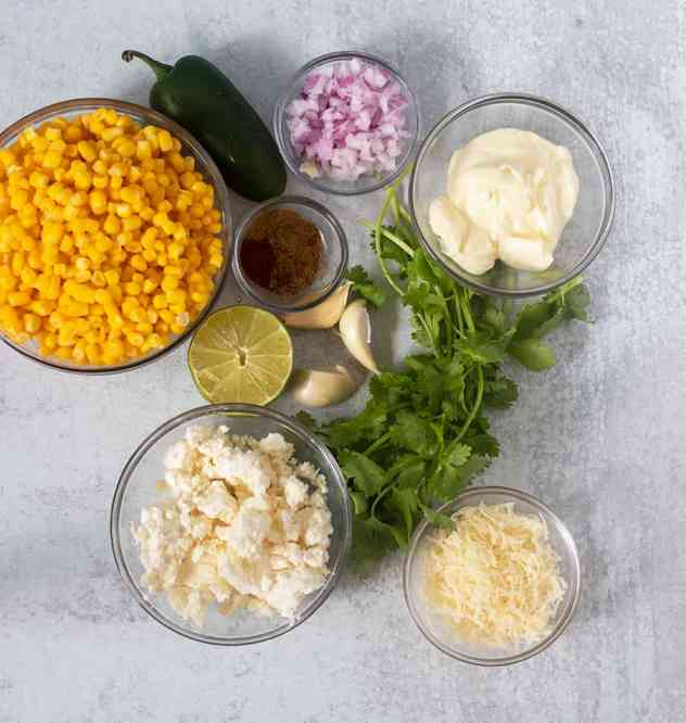 Ingredients for Mexican Street Corn Salad.