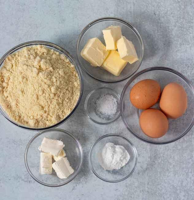 almond flour, butter, cream cheese, eggs, baking powder, salt