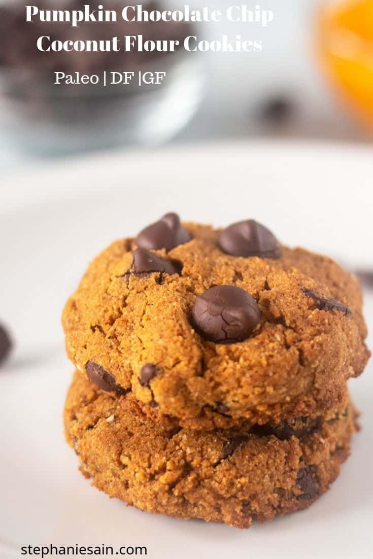 Pumpkin Chocolate Chip Coconut Flour Cookies