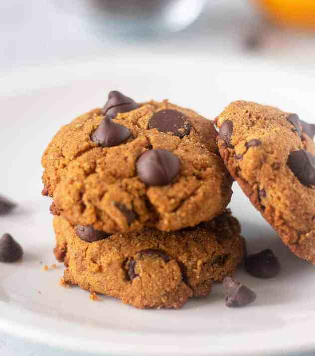 Coconut Flour Pumpkin Chocolate Chip Cookies on a white plate