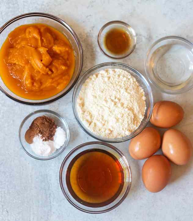 Pumpkin puree, coconut flour, spices, vanilla extract, eggs, maple syrup, coconut oil