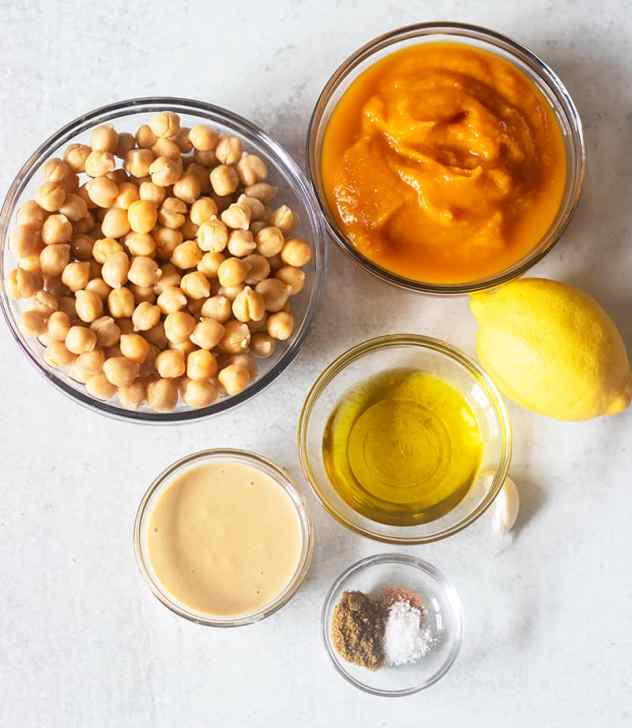 chickpeas, pumpkin puree, tahini, olive oil, lemon juice, garlic, seasonings