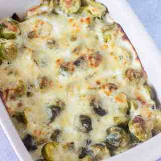 brussel sprouts au gratin baked in a casserole pan