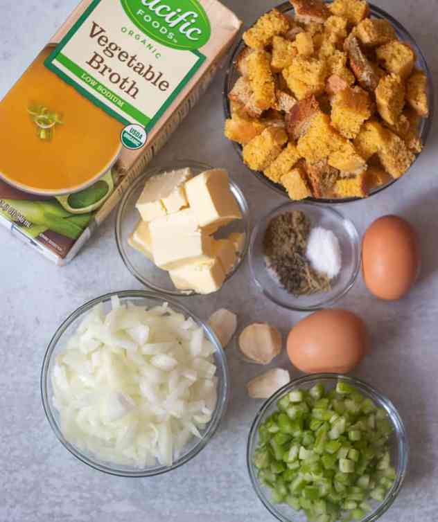 ingredients for cornbread stuffing