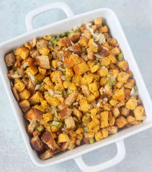 cornbread stuffing prior to baking