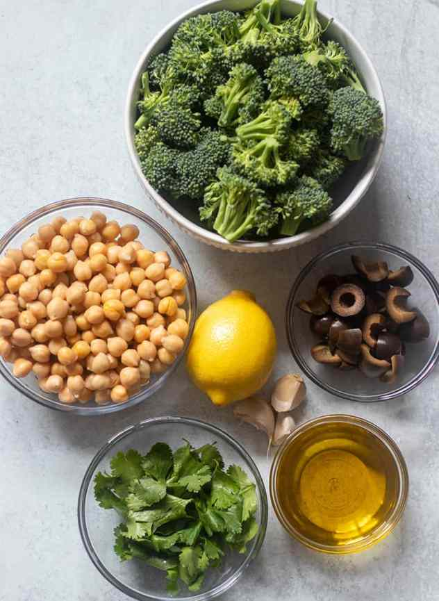 Broccoli, Chickpeas, Lemon, Black Olives, Cilantro, Olive oil