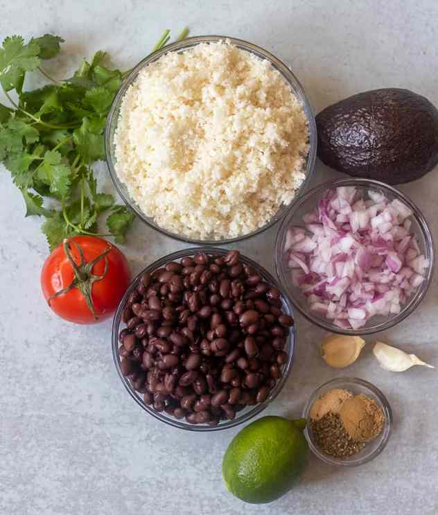 cilantro, tomato, cauliflower rice, avocado, red onion, black beans, lime, garlic, seasonings