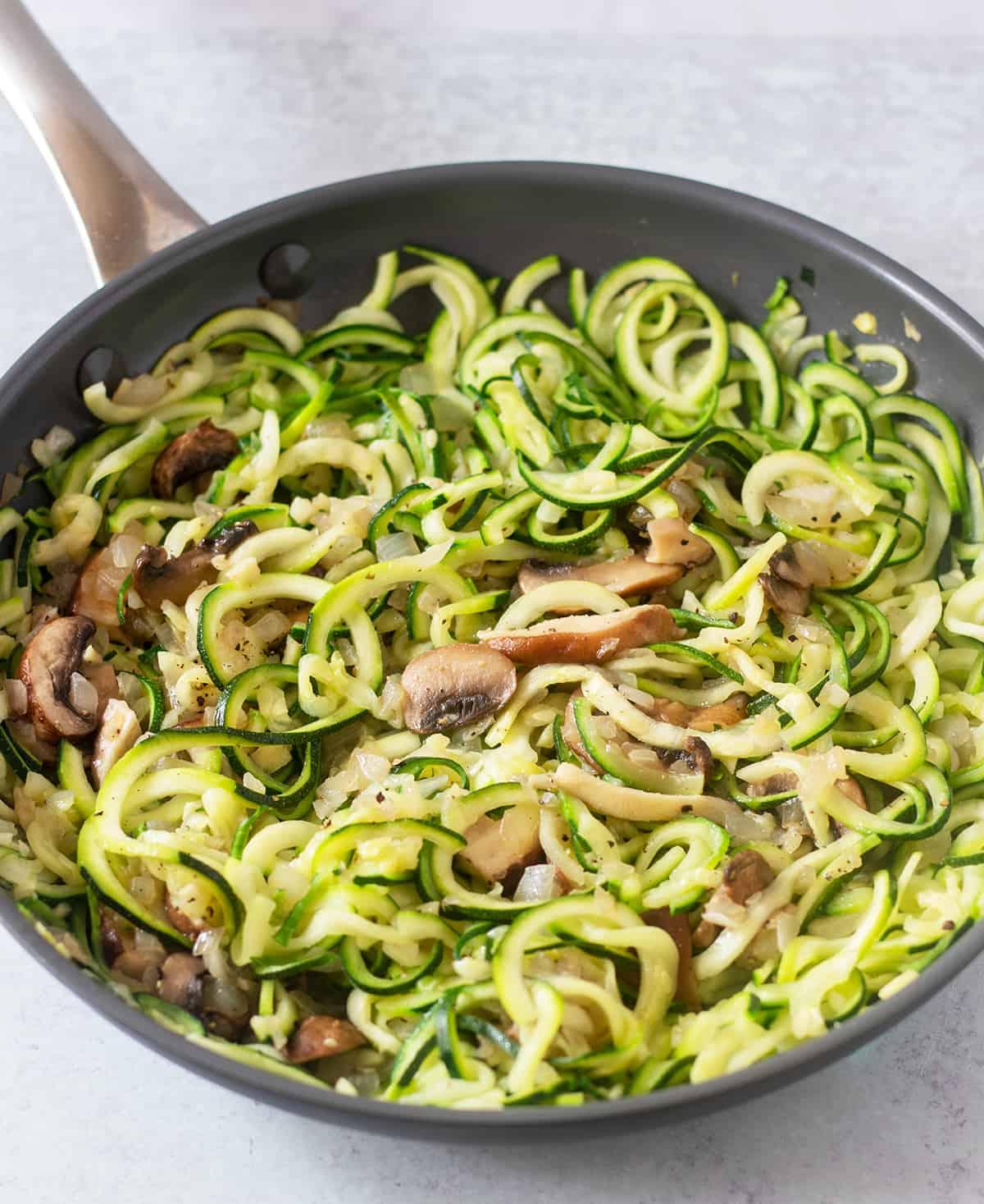 Zucchini noodles in saute pan