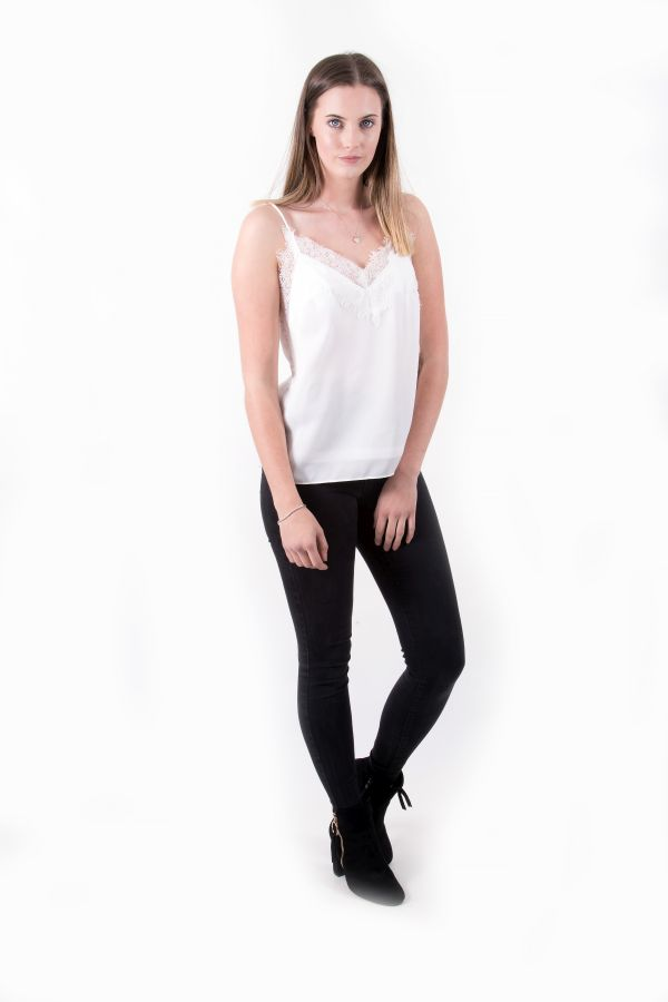 Remmie White Dipped Back Cami