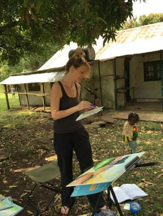 Spending the morning painting at our little guesthouse in Tum.
