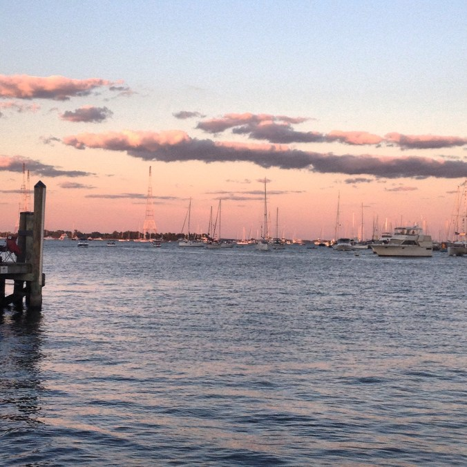 Sitting on the dock of the bay, spending time with my family.