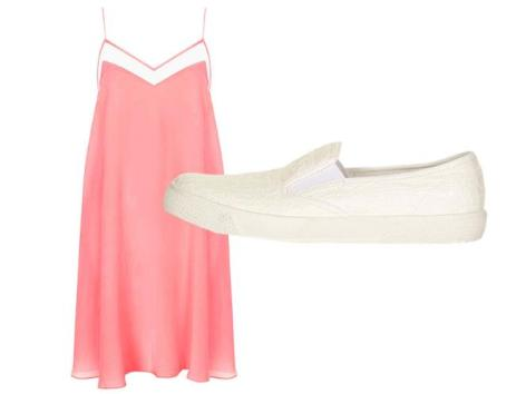 Get the look... DON'T WEAR: your hair cut into 'The Rachel' - that style is best left in the 90s. DO WEAR: Rachel Green's style staple - a little sundress paired with plimsols. Slip dress, £65, and skate shoes, £20, Topshop