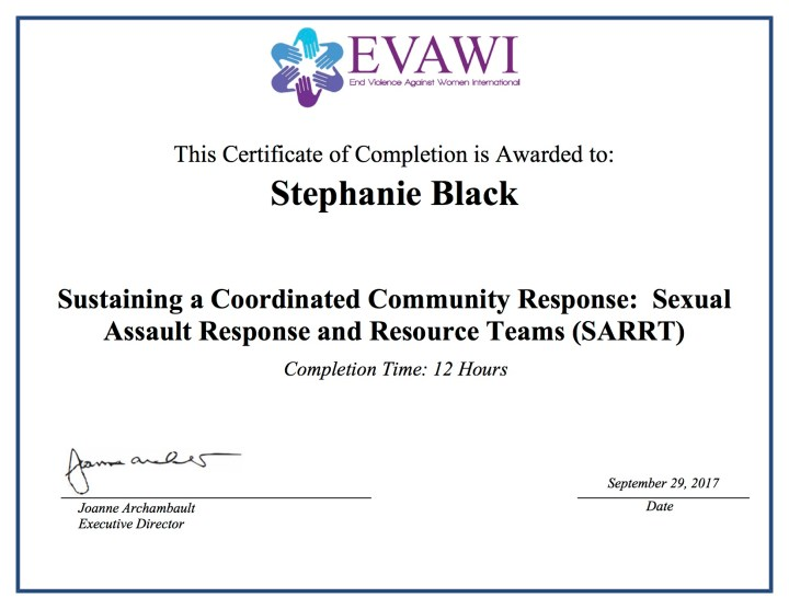 Certificate: Sustaining a Coordinated Community Response: Sexual Assault Response and Resource Teams (SARRT)