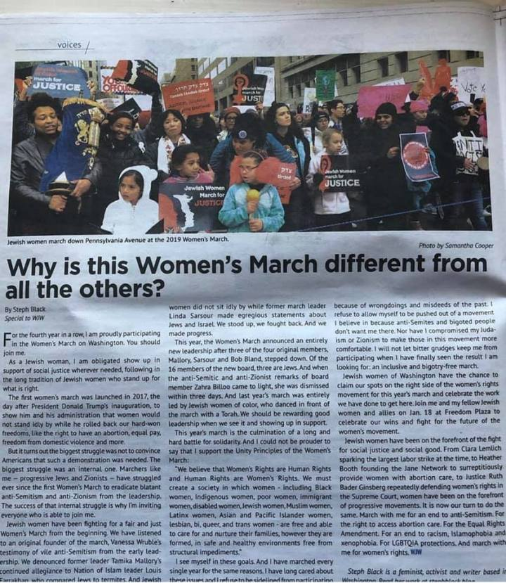 I'm in print! Washington Jewish Week: Why is this Women's March different from all the others?