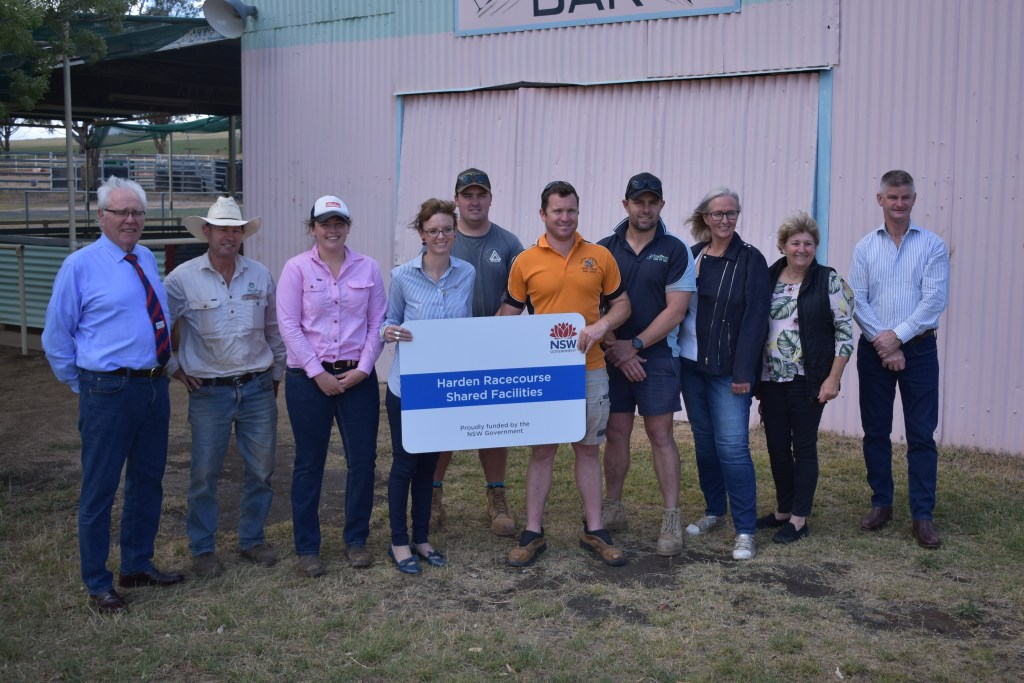 Member for Cootamundra Steph Cooke with community representatives to celebrate the start of construction of new shared facilities at Harden Racecourse.