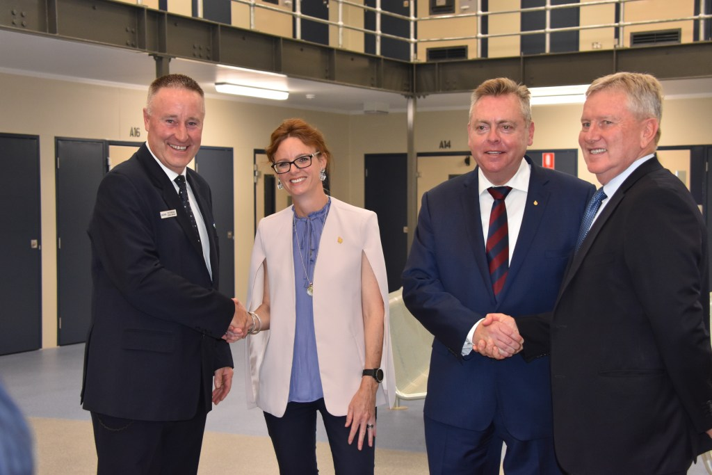 Congratulations all round from Scott Brideoak, General Manager of Junee Correctional Centre; Member for Cootamundra Steph Cooke; The Hon. Anthony Roberts, Minister for Counter Terrorism and Corrections and Pieter Bezuidenhout, Managing Director, The GEO Group Australia