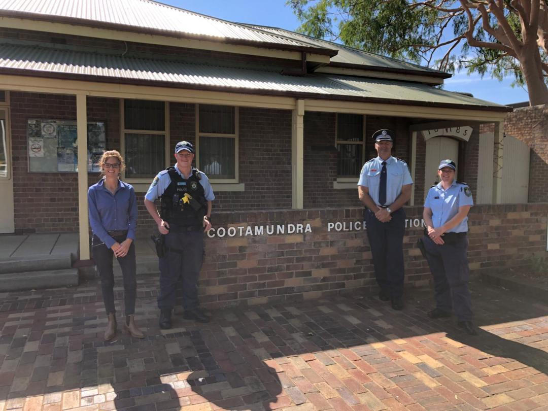 Steph Cooke MP, Probationary Constable Josh Meads-Barlow, Inspector Frank Brown and Sgt Jill Gibson stand in front of the Cootamundra Police Station.