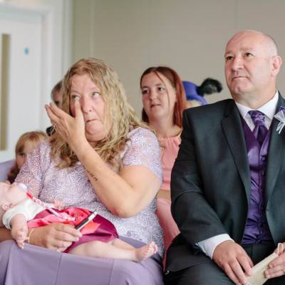Norfolk wedding photographer – mother of the bride crying